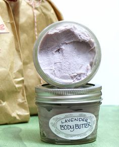 This homemade non-greasy lavender body butter recipe is perfect as a DIY stocking stuffer gift!