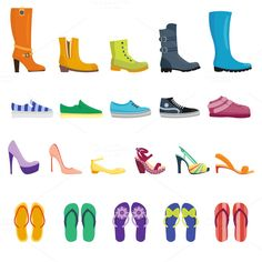 Different shoes vector set  @creativework247