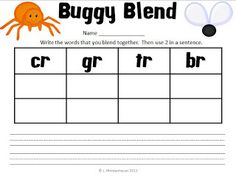 Classroom Freebies Too: Buggy Blends Literacy Center - Free Teacher Freebies, Classroom Freebies, Teaching Strategies, Teaching Tools, Letter Blends, Reading Lessons, Guided Reading, First Grade Phonics, Blends And Digraphs