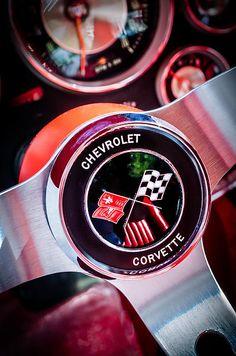 1963 Chevrolet Corvette Split Window Steering Wheel Emblem -309c by Jill Reger