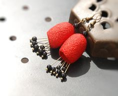 Earrings silk cocoon  hand dyed  black red by AnnaWegg on Etsy, £12.50