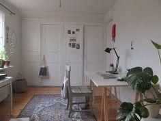 nice ample desk area, wardrobe, nice rug, bright light from window, plants