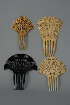 hair combs: celluloid, ivory, black papyrus motif, and scrolling gold glitter circa) Spanish Hairstyles, Vintage Hairstyles, Vintage Hair Combs, Vintage Hair Accessories, Art Deco Hair, Bijoux Art Nouveau, Hair Jewels, Barrettes, Stick Pins