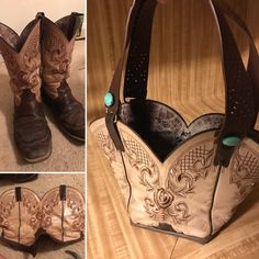 Repurpose old cowboy boots into a purse