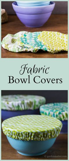 Learn how to make pretty fabric bowl covers to protect your food as an alternative to plastic wrap. A great housewarming present or any occasion gift. #sewing #easysewing #recycle #fabric #craft