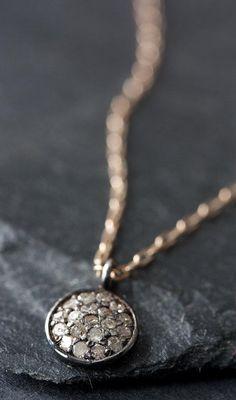 Pavé diamonds and oxidized sterling silver necklace