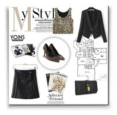"""Black Leather Mini Skirt"" by nermina-okanovic ❤ liked on Polyvore featuring mode, Assouline Publishing, Chanel et yoins"