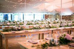 Check out this forest wedding at Beloftebos filled with pastel watercolor details, outdoor tented reception, farm-style feasting tables, naked cake + more! Tent Reception, Reception Areas, Flower Decorations, Table Decorations, Pastel Watercolor, Forest Wedding, Wedding Flowers, Wedding Stuff, Got Married