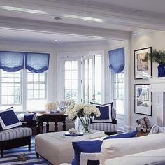 Light & airy living room. I love the colors