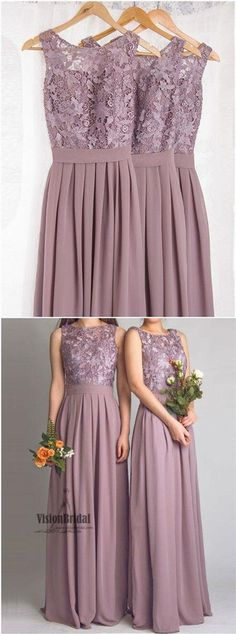 2018 Beautiful Top Lace Embroidery A-Line Long Chiffon Bridesmaid Dress, Bridesmaid Dress, VB0444 #bridesmaiddresses