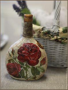Подарочное оформление бутылок ручной работы. Ярмарка Мастеров - ручная работа Бутылочка с розами. Handmade.
