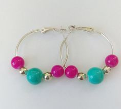 $9.00 - Cotton Candy Beaded Hoop Earrings by HerSassyCreations #Etsy #Handmade Click now to buy!