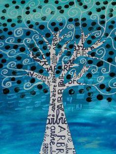 arbre d'hiver. collage, encre, coton tige