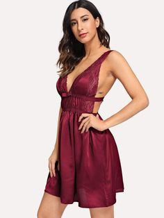 138d9a0c0d Shop Contrast Lace Open Back Satin Dress online. SheIn offers Contrast Lace  Open Back Satin Dress   more to fit your fashionable needs.