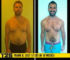 "Frank B. lost 17 lbs in 10 weeks of Focus T25! Congratulations Frank! This is AMAZEBALLS!    ""Focus T25 is a complete workout in 25 minutes, with both cardio and strength training. I achieved weight loss, body fat loss and energy gain!"""