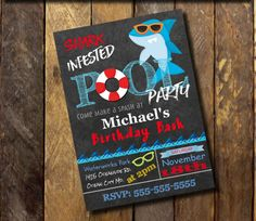 Shark Invitation Printable,Shark Birthday Invitation,Pool Party Invitation,Summer Party, Chalkboard Shark Printable or printed FREE Shipping