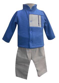 Chamarra con cuello mao, bordad y pantalón Tallas 3, 6, 12 y 18 meses.