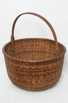 "13"" Open round Nantucket Lightship Basket with unusual ""clothespin"" style wooden ears, with notched oak swing handle. Unknown Maker, c. 1890...~♥~"
