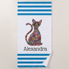 Colorful Blue Stripes Millefiori Cat Monogram Name Beach Towel - monogram gifts unique design style monogrammed diy cyo customize