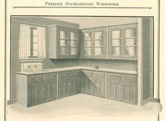 Kitchen dressers, from Premier Standardized Woodwork catalog, circa 1920's.