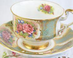 Elizabethan tea cup and saucer navy blue tea cup hand