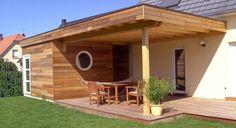 Extension ossature bois + continuité terrasse Pergola, Outside Patio, House Extensions, Architecture, Saint Nazaire, Planer, Facade, Home And Garden, Outdoor Structures