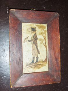 Early style watercolor of a Gentleman with a bird on early paper in an early painted frame by Steve Shelton (SOLD) at Whitehorse Antiques, Rocheport, Mo.  Copyright Steve Shelton.