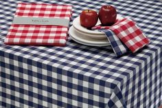 "DII 100-percent Cotton, Machine Washable Tablecloth Red Check 70"" Round"""