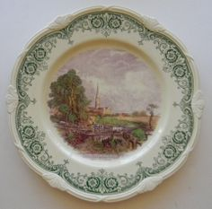 Scenes After Constable Green Purple Two Color English Transferware Plate Constable Salisbury Cathedral Horse Cart Crossing Stream Green And Purple, Green And Brown, Green China, Horse Cart, Salisbury Cathedral, Hanging Plates, Porcelain Mugs, Vintage China, Country Decor