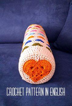 Crochet PATTERN pillow case bolster cushion cover round heart