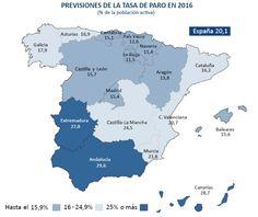 Imagen del día: previsión de tasa de paro en España por autonomías en 2016