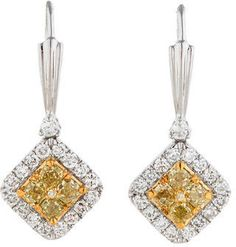 1.70ctw Yellow and White Diamond Earrings on shopstyle.com
