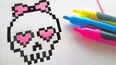 Handmade Pixel Art - How To Draw Cute Skull #pixelart #Halloween