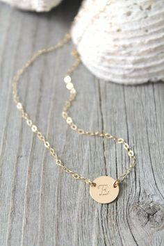 14K Gold gefüllt erste Disc Halskette von potionumber9 auf Etsy