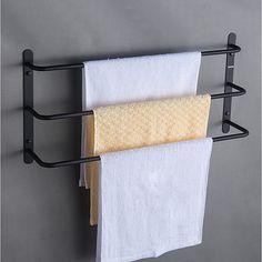 Tilbehørssæt til badeværelset / Håndklædestang / Badeværelseshylde Flerlags / Nyt Design / Sej Moderne / Antik Rustfrit stål 1pc - Badeværelse / Hotel bad 3-håndklæde bar Vægmonteret 2019 - kr. 325.62 Towel Rack Bathroom, Small Bathroom Storage, Bathroom Shelves, Hanging Towels, Towel Hooks, Silver Bathroom, Vintage Sideboard, Towel Storage, Storage Organization