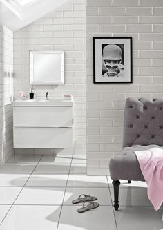 Modern White Tile Bathroom super satin white wall tile and camden blue floral lys from topps