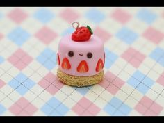 Polymer Clay Strawberry Cake Charm Tutorial - YouTube