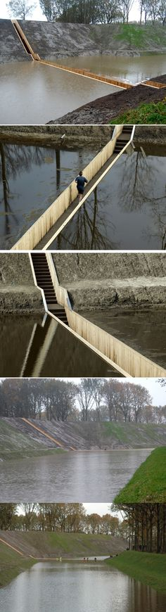 "Ro Architects, ""Moses Bridge"" - Pedestrian bridge near Fort de Roovere in Halsteren, Netherlands in Accoya Wood. It divides the water like Moses & allows people to safely cross to the other side."