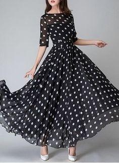 Chiffon Bolinhas Manga até a metade do braço Longo Informal Vestidos de (1030625) @ floryday.com