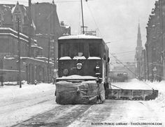 early streetcar plowing snow in Boston
