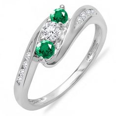 Share and get $20 off your order of $100 or more. 0.50 Carat (ctw) 18k White Gold Round White Diamond And Green Emerald Ladies Swirl Engagement 3 Stone Bridal Ring 1/2 CT - Dazzling Rock #https://www.pinterest.com/dazzlingrock/