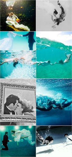 24 Underwater engagement photos - Artistic  How cool would this be! However I would be afraid to trash my dress haha #mybigday #wedding