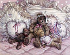 One of the Janet Kruskamp Teddy Bear Gallery of  original paintings by Janet Kruskamp