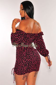 Refine your inner chic with this black pink petals print dress. Designed with a ruffle peasant neckline, long sleeves and a ruched design. Lace Up Back Dress, White Long Sleeve Dress, Black Tank Dress, Keyhole Dress, Bell Sleeve Dress, Dress Backs, Sequin Midi Dress, Strapless Midi Dress, Ruched Dress