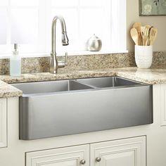 """36"""" Hazelton 60/40 Offset Double-Bowl Stainless Steel Farmhouse Sink"""