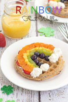 Rainbow Fruit Waffles.  A fun and healthy St. Patrick's Day breakfast of frozen waffles topped with creamy ricotta cheese and a fresh fruit rainbow.  via @toasterovenlove