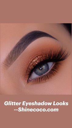 Smoke Eye Makeup, Korean Eye Makeup, Eye Makeup Steps, Eye Makeup Art, Eyeshadow Makeup, Makeup Monolid, Eyeshadow Ideas, Glitter Eyeshadow, Glitter Makeup Looks
