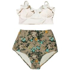 White Midkini Top and Cream Rose High Waisted Highwaisted Bottom Cheap... ($40) ❤ liked on Polyvore featuring swimwear, bikinis, bathing suits, bikini, swim, black, women's clothing, white high waisted bikini, retro high waisted bikini and high-waisted bikini