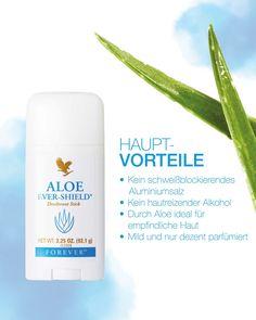 Du bist noch auf der Suche nach einem Deo ohne Aluminiumsalze und Alkohol? Dann teste doch mal das Aloe Ever-Shield®️. Der feste Deostick mit angenehm dezentem Duft schützt dich langanhaltend vor unangenehmen Gerüchen. Selbstverständlich hinterlässt er auch keine Flecken auf der Kleidung. Deodorant, Forever Living Products, Aluminium, Personal Care, November, Beauty, Stressed Out, Sensitive Skin, Feel Better