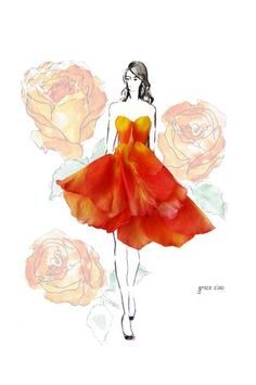 Grace Ciao -fashion designer uses real flowers (petals) to design wearable fashion. / Inspired fantasy orange tube dress for 313 Fall Campaign Grace Ciao, Moda Floral, Arte Floral, Unique Drawings, Amazing Drawings, Flower Petals, Flower Art, Flower Girls, Floral Fashion